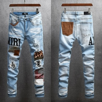 AMIRI pants trendy brand high street Amiri light blue embroidered patch stretch slim fit jeans with holes Large Size