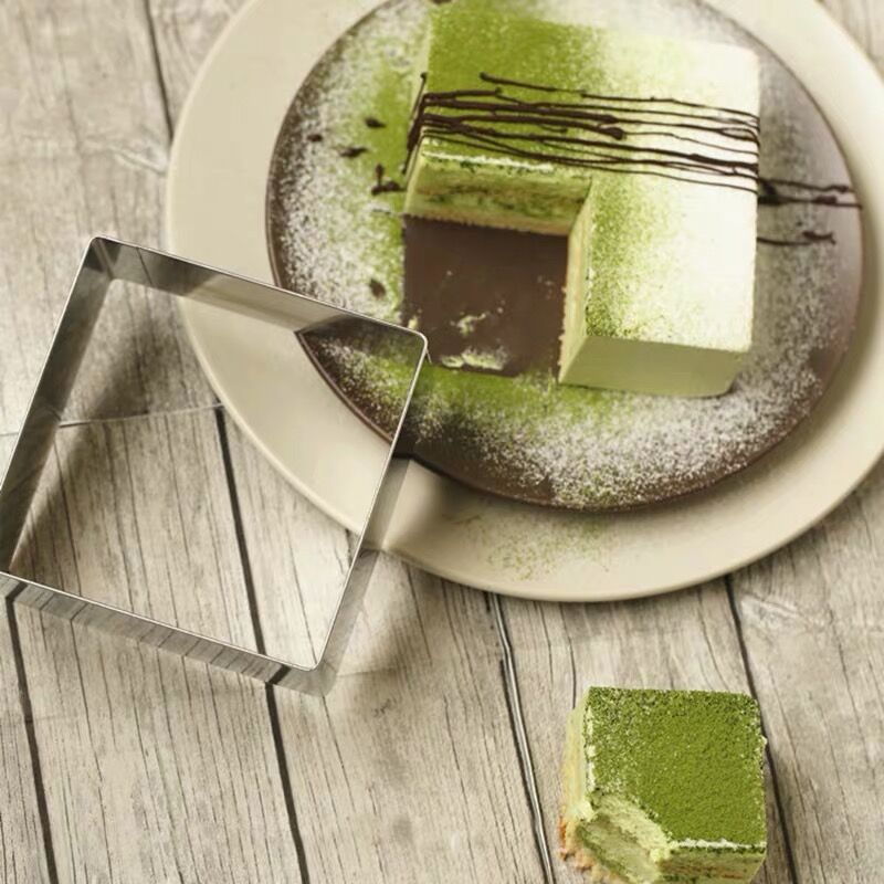3PC en acier inoxydable carré silicone moule cuisson Mu Si cercle ensemble gâteau pain moules Biscuit 3 pièces ensemble chocolat moule de cuisson