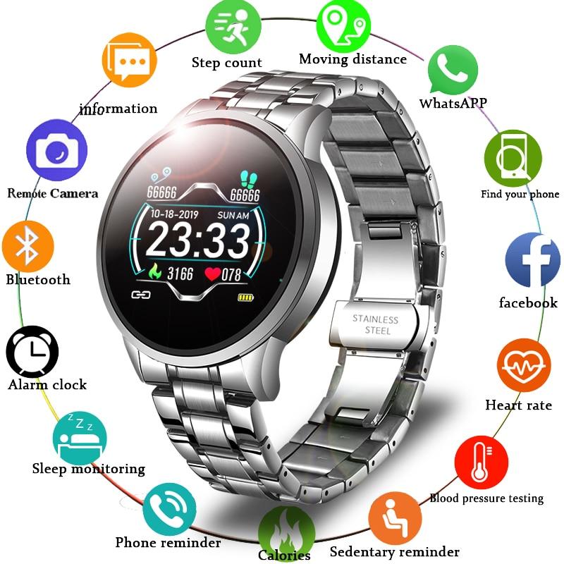 LIGE-ساعة ذكية جديدة للرجال, ساعة يد تقيس معدل ضربات القلب وضغط الدم تذكير بمعلومات رياضية مقاومة للماء لهواتف الأندرويد والأيفون جديد 2020