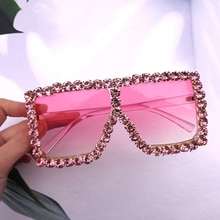 2020 New Brand Designer Sunglasses Driving Glasses High Quality Rhinestone Square Oversized Glasses