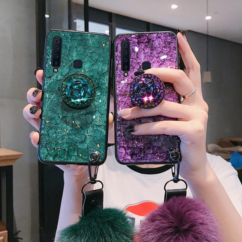 Epoxy Gold Folie Juwel Fall Für Samsung Galaxy S20 10 S9 S8 Plus S7 Rand Hinweis 10 Pro A50 A70 a9 2018 Mit Ring Halter Lanyard Abdeckung