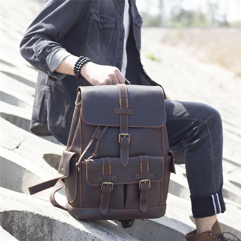 Retro simple men's genuine leather backpack  large-capacity crazy horse cowhide school bag women's casual travel locomotive bag