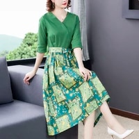 zuoman mori girl autumn spring women vintage dress stand collar geometric printed loose dress cotton linen vestidos femininos