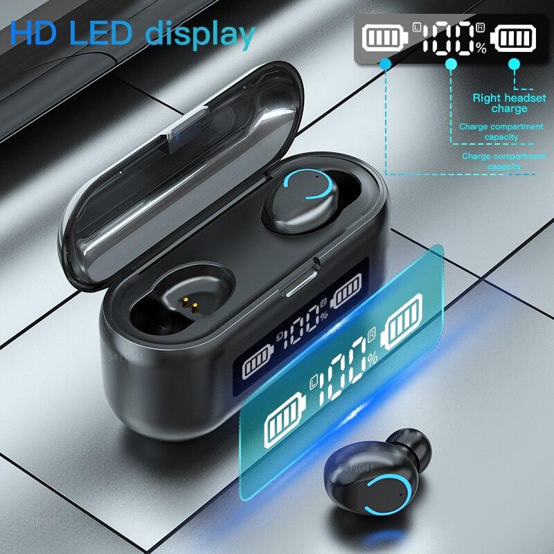 Casque sans fil Bluetooth écouteurs V5.1 TWS 2000mAh LED 9D stéréo sport étanche écouteurs casques écouteurs casque