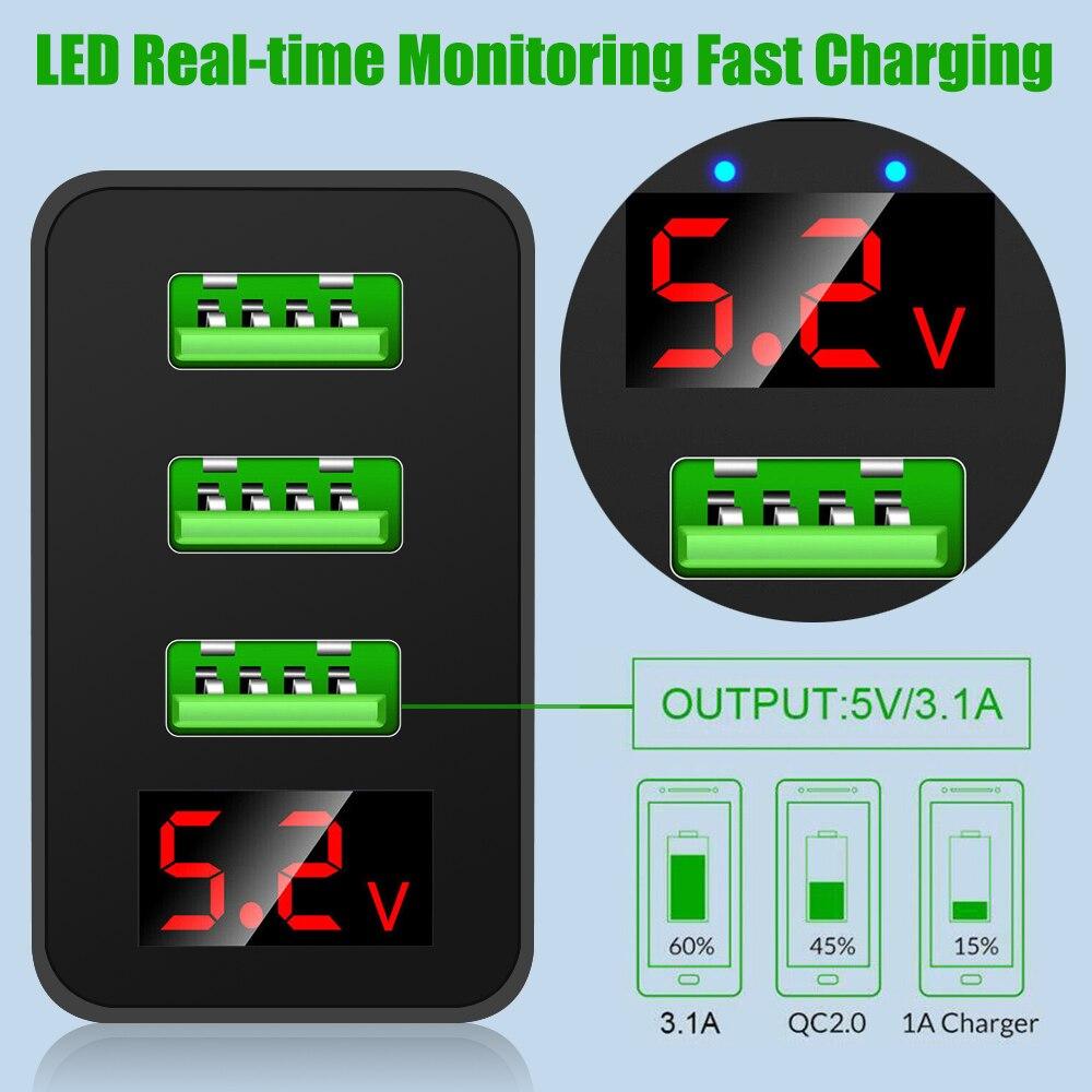 2020 rápido 3 multi-portas de carga led display usb hub adaptador de carregador de parede reino unido da ue eua plug