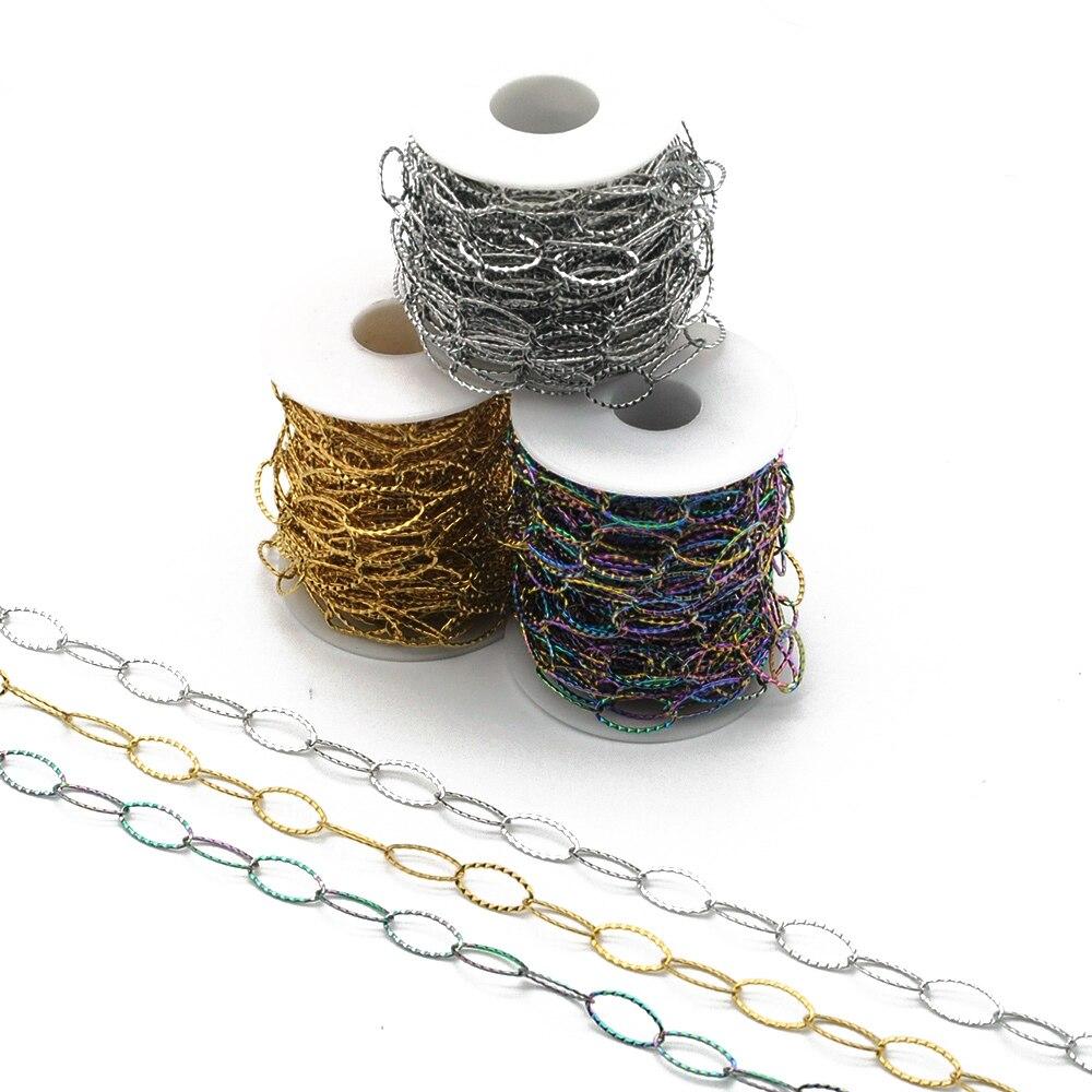 سلسلة مجوهرات بيضاوية من الفولاذ المقاوم للصدأ لصنع القلائد ، 10 أمتار ، 100% من الفولاذ المقاوم للصدأ 10 × 20 مللي متر ، DIY