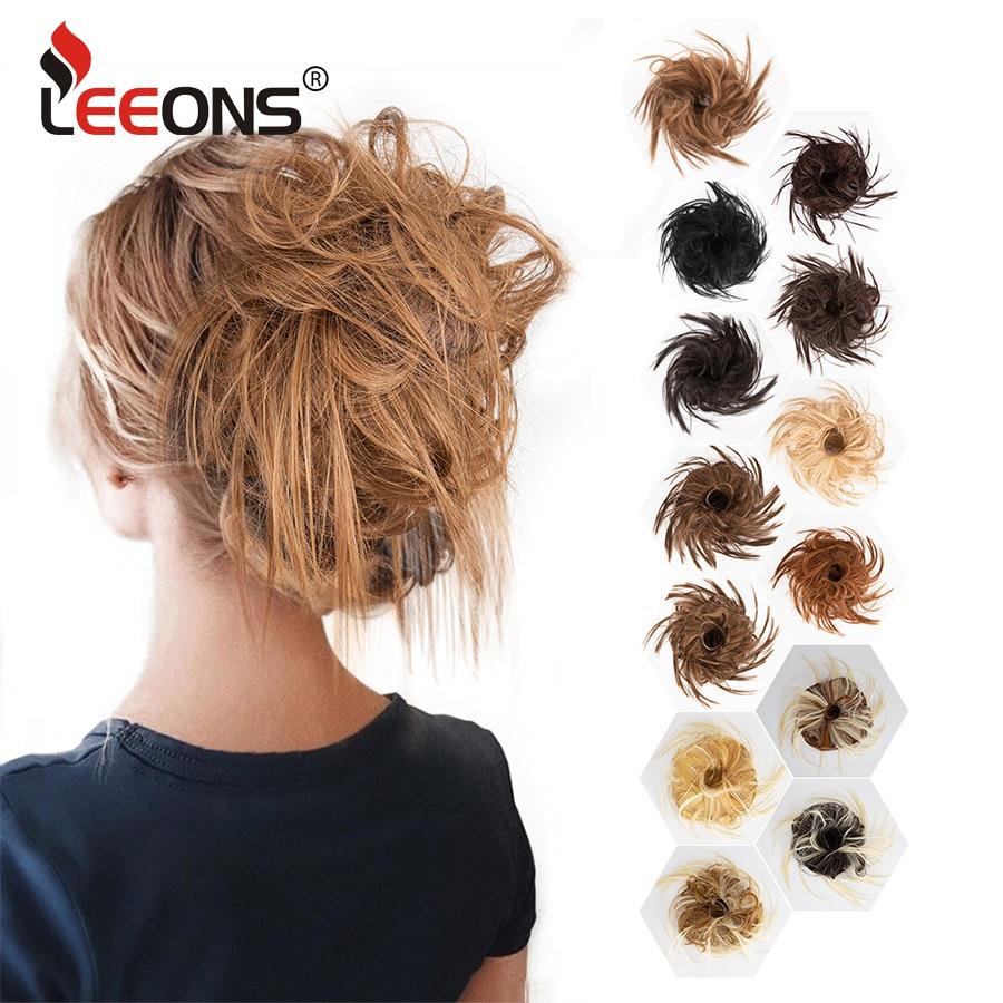 Leeons Messy Bun Hair Piece For Women Brown Blonde Messy Bun Updo Hair Pieces Messy Chignon Hair Scrunchies Extension Elastic
