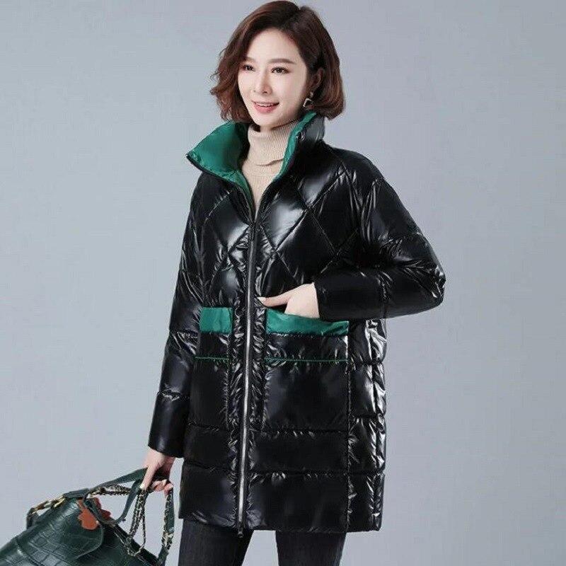 Теплое зимнее пальто Fdfklak, Женская хлопковая куртка средней длины, блестящие стеганые куртки, новое корейское Свободное пальто, женская пар...