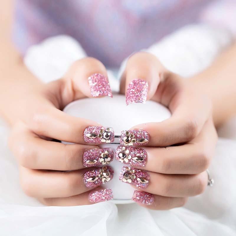 Super shimmer lantejoulas imprensa em unhas coreano doce meninas noiva wearable pré design falso unhas glitter cristal unhas dicas com cola