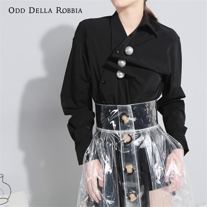 OddDellaRobbia بلوزات علوية أنيقة للنساء وطريقة مخصصة لارتداء أزرار اللؤلؤ فضفاضة أنيقة OL بلوزات قمصان 459
