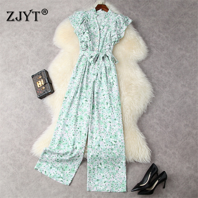 Butterfly Sleeves Green Print Elegant Summer Jumpsuits Womens Rompers Lace Up Office Lady Overalls Holiday Party Wide Leg Pants