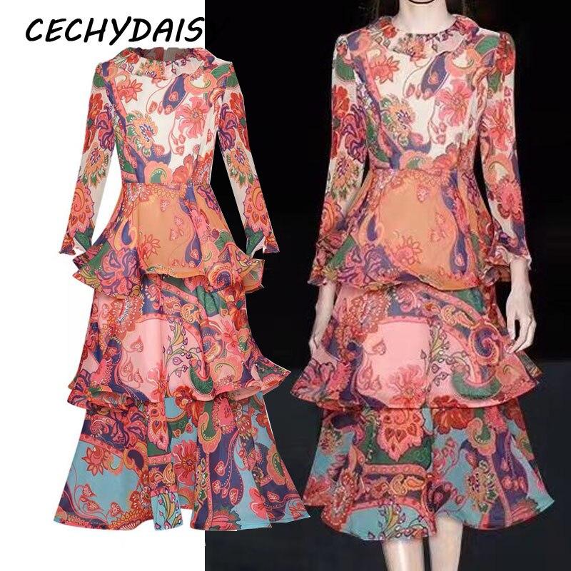 Midi Kleid Frauen Ruway Designer 2020 Herbst Frühling Rüschen Floval Gedruckt Elegante Urlaub Party Kleider Vestidos Femme Robe za