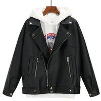 2021 new arrival women autumn winter leather jacket oversized boyfriend korean style female faux coat outwear black bike jacket