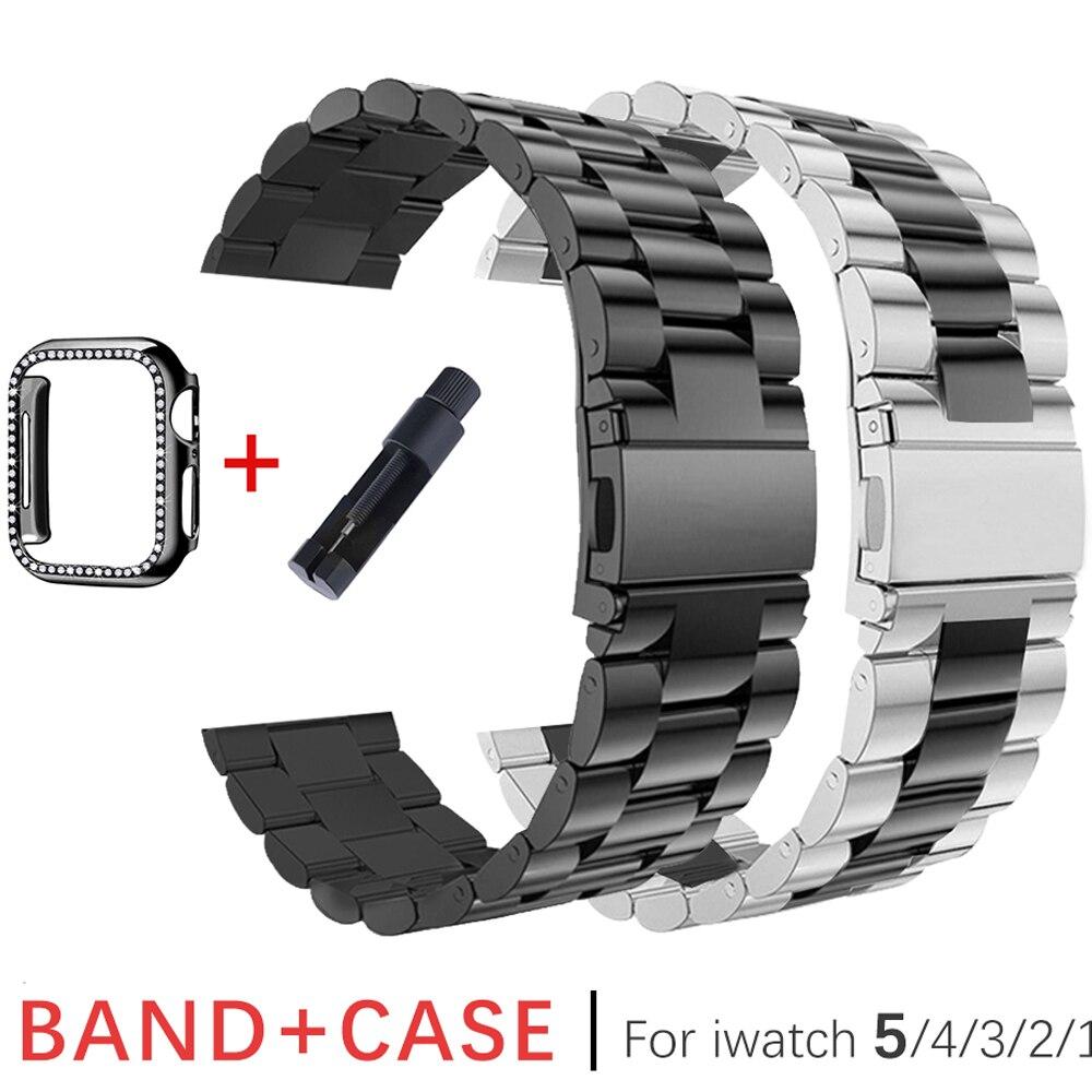 Ремешок из нержавеющей стали для Apple Watch 42 мм 38 мм 1/2/3 металлический ремешок для часов браслет + чехол для iWatch серии 4 5 44 мм 40 мм