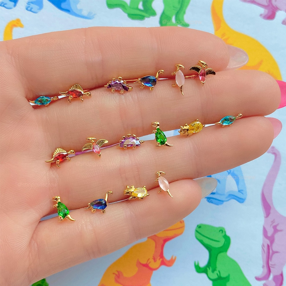 AliExpress - New Ins Inlaid Zircon Dinosaur Stud Earrings Simple Cute Real Gold-plated Color Zircon Earrings For Women Girls Fashion Jewelry