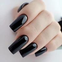24pcs bright black long flat fake nails ballerina artificial false nail art diy full cover finger tips press on manicure tools