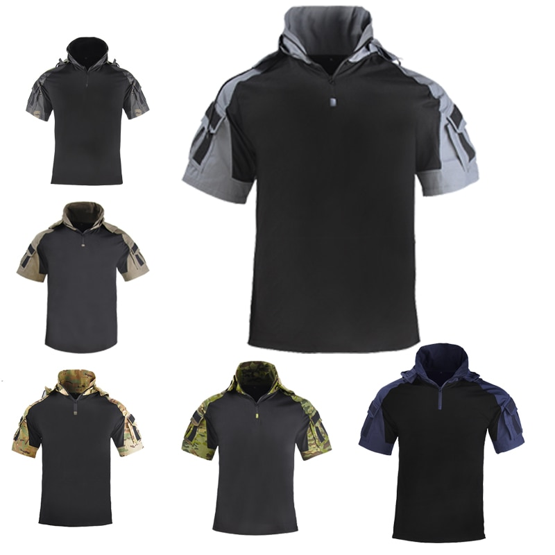 التكتيكية القتالية الرجال قصيرة الأكمام الملابس العسكرية جنود الصيد الجيش مقنعين قميص الصلبة أبلى Ripstop سريعة الجافة قميص