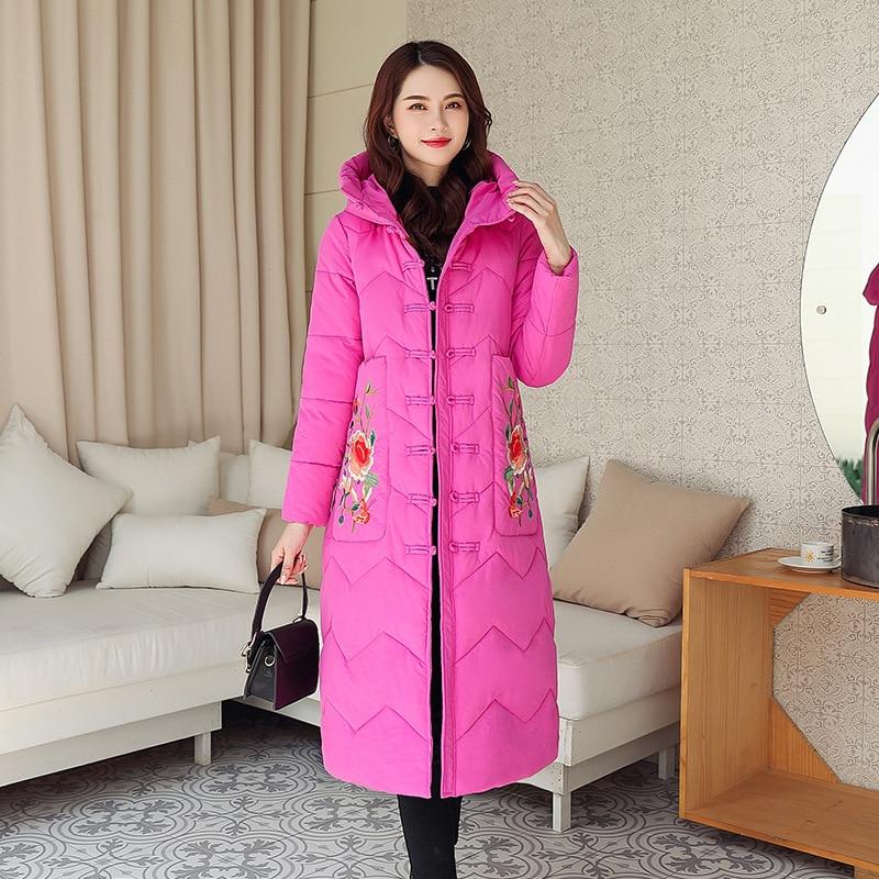 Abrigo Retro de algodón con capucha para mujer, abrigo de algodón con...
