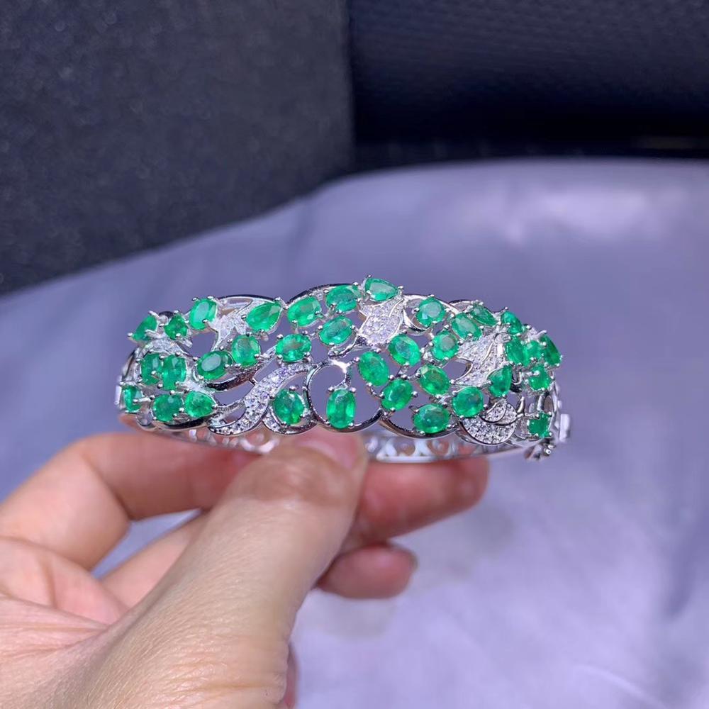Pulsera de piedra preciosa verde esmeralda de estilo lujoso, joyería fina de Plata de Ley 925 para mujer, Gema natural auténtica certificada