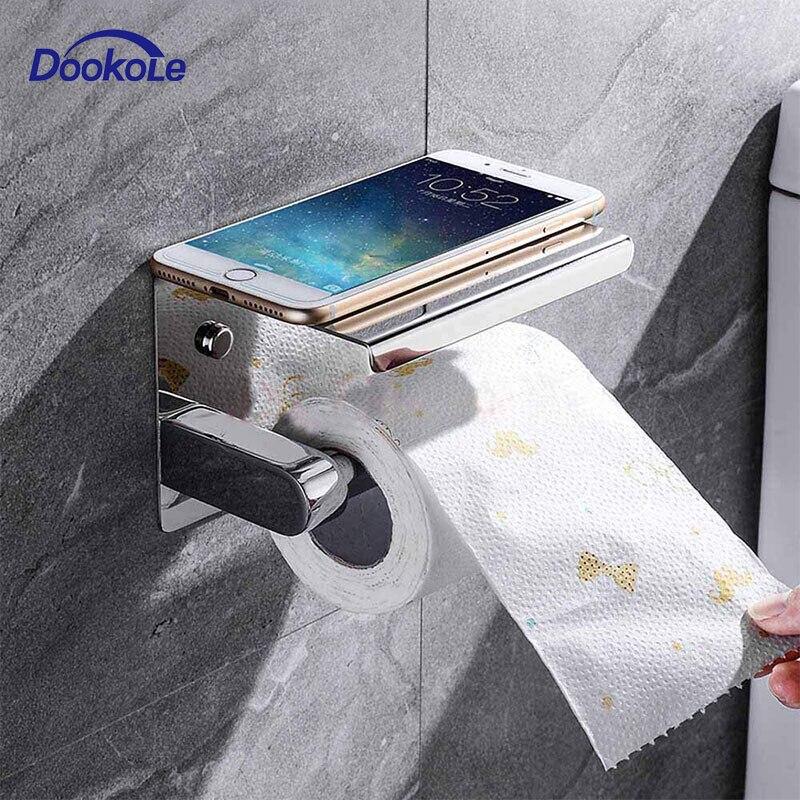 Suporte do papel higiénico do banheiro de aço inoxidável suporte rolo higiênico com prateleira do telefone fixado na parede cromo polido