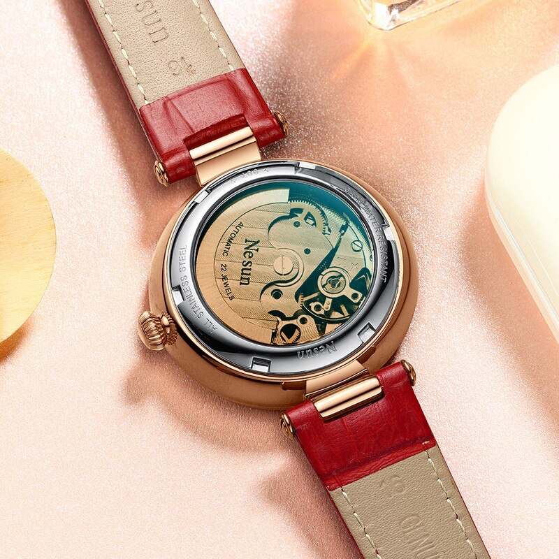 Switzerland Luxury Brand NESUN Women Watch Japan Automatic Mechanical Watches  Waterproof Skeleton Luminous Hands clock N9076 enlarge