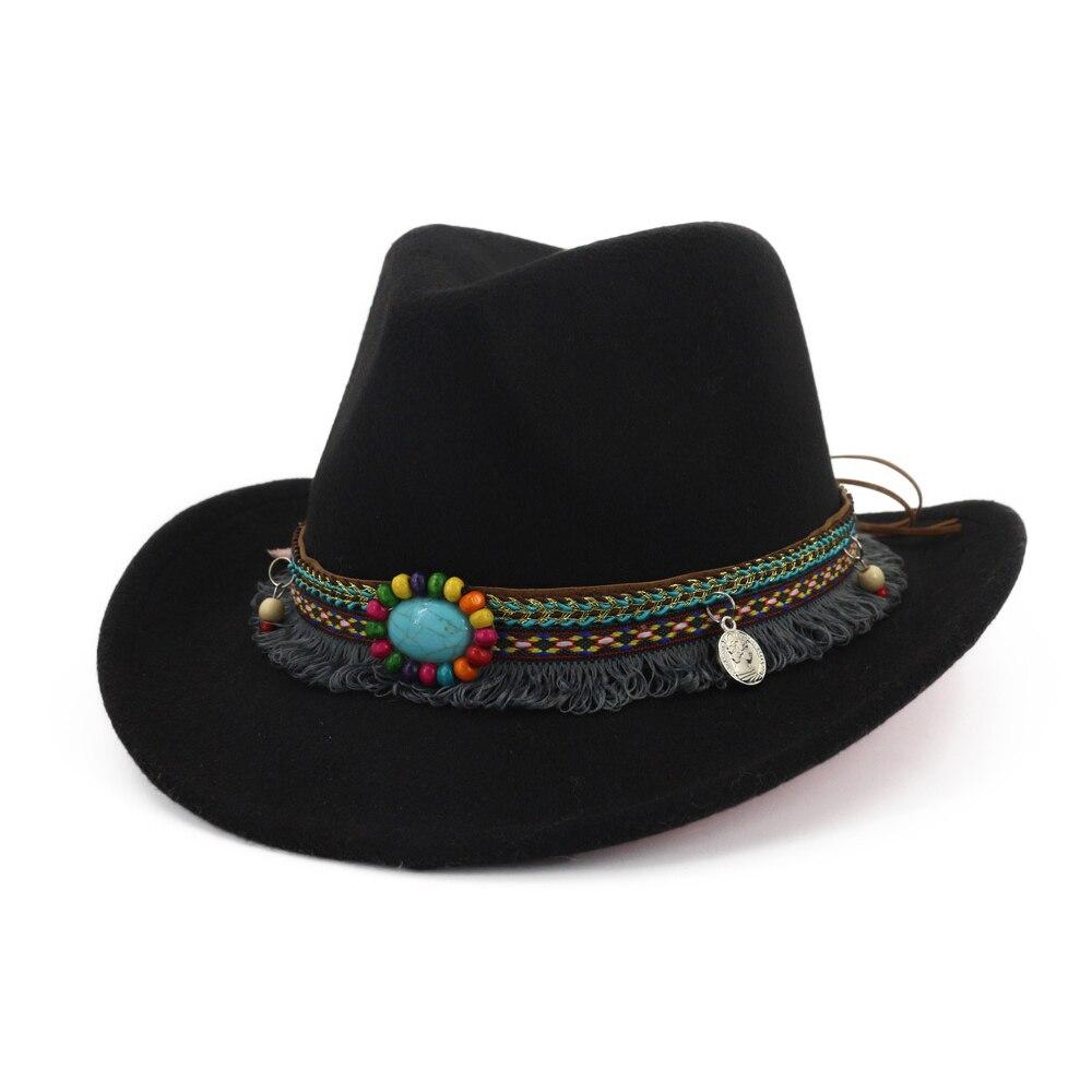 Hombre mujer sombrero Fedora vaquero occidental con cinta de borla Pop sombrero de ala ancha Jazz sombrero negro tamaño 56-58CM
