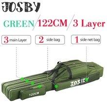JOSBY 152/122/60cm Fishing Bag Oxford Cloth Folding Fishing Rod Reel Bag Fishing Tackle Storage Bags Travel Carry Case Pesca