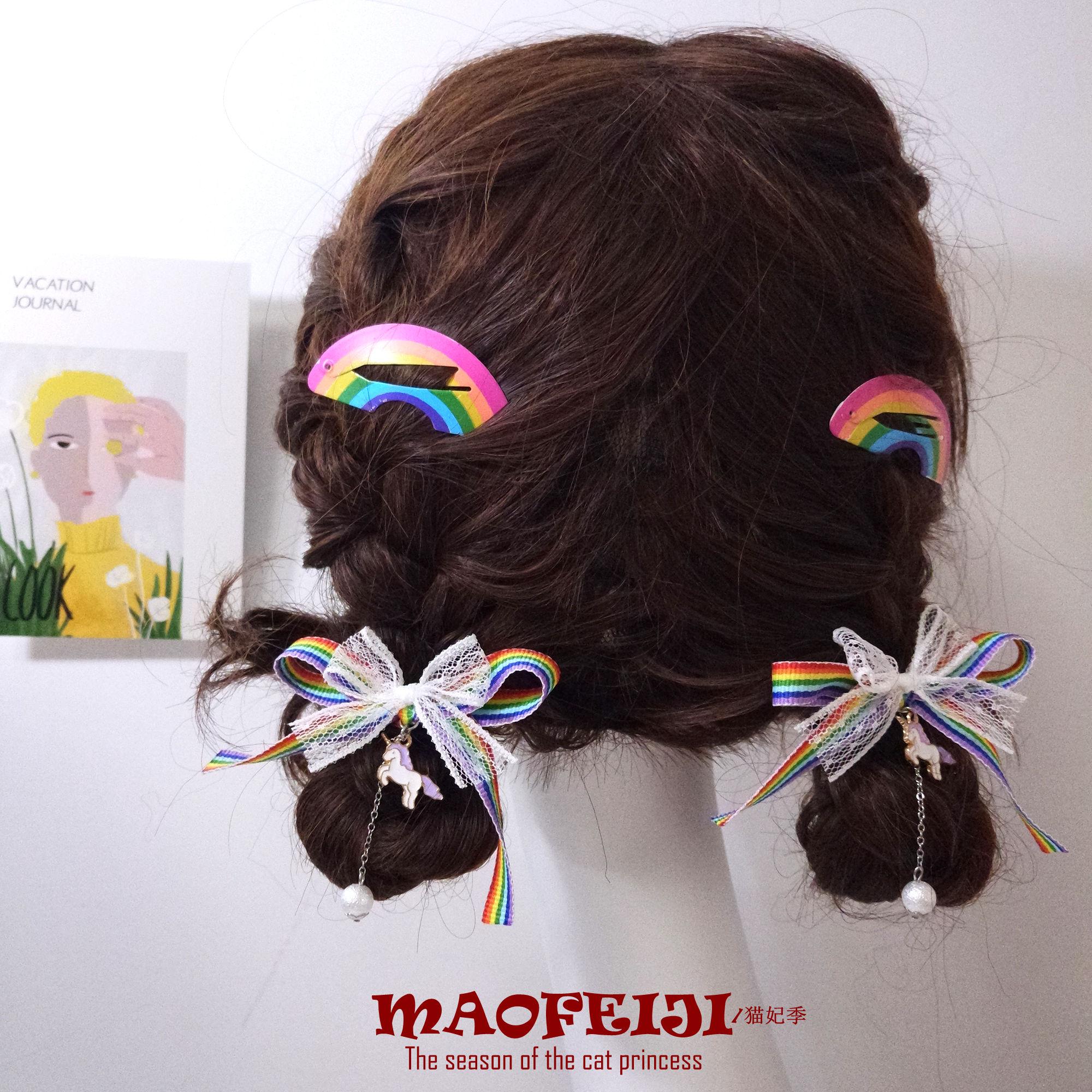 Arco-íris unicórnio menina bowknot duplo rabo de cavalo corda de cabelo lolita grampo de cabelo macio irmã acessórios de cabelo doce anéis de cabelo
