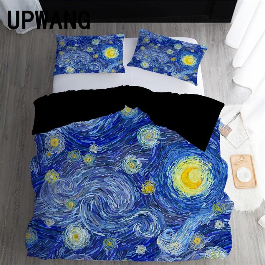 UPWANG 3D Bedding Set Moon Planet Printed Duvet/Quilt Cover Set Bedcloth with Pillowcase Bed Set Home Textiles
