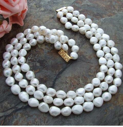 Gratuit P & P ***** véritable 3row 8-10mm blanc baroque perles collier 14k fermoir