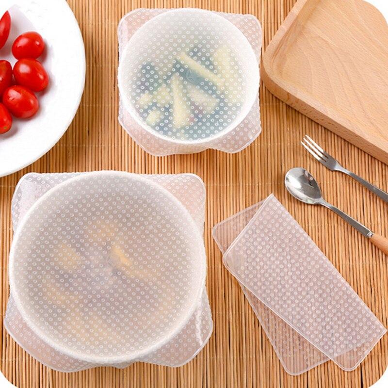 Lote de 4 unidades de cubiertas de sellado de silicona para comida, Film estirable para ayudar a la cocina, funda elástica de silicona para comida, salvamanteles para comida fresca
