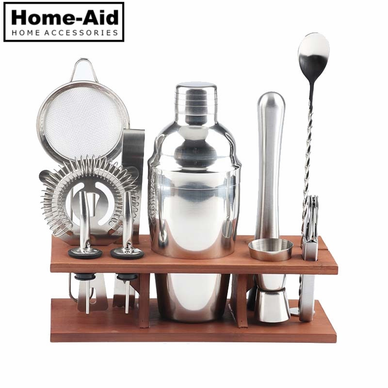 Set de 11 unids/set de coctelera de acero inoxidable, filtro de bebidas, abrebotellas, mezclador, cuchara, juego de herramientas para medir la taza y la barra