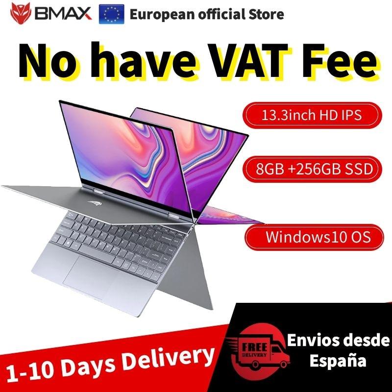EU STORE Free tax BMAX Y13 13.3 inch Notebook Windows 10 8GB LPDDR4 256GB SSD 1920*1080 IPS Intel N4120 touch screen laptops