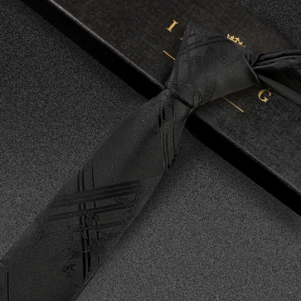 High Quality 2019 New Designers Brands Fashion Business Casual 5cm Slim Ties for Men Necktie Formal Work with Gift Box Black