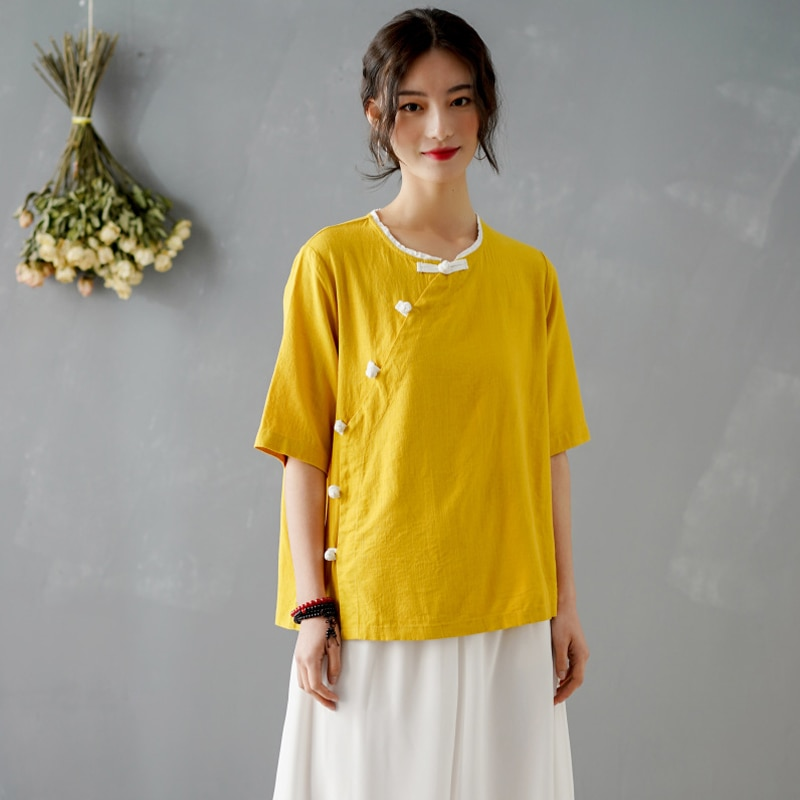 blouse trueprodigy blouse Chinese style Blouse Women 2020 New Summer Blouse Solid Yellow Red White Blouse Vintage Elegant Linen Shirt Blouse Tops Femme