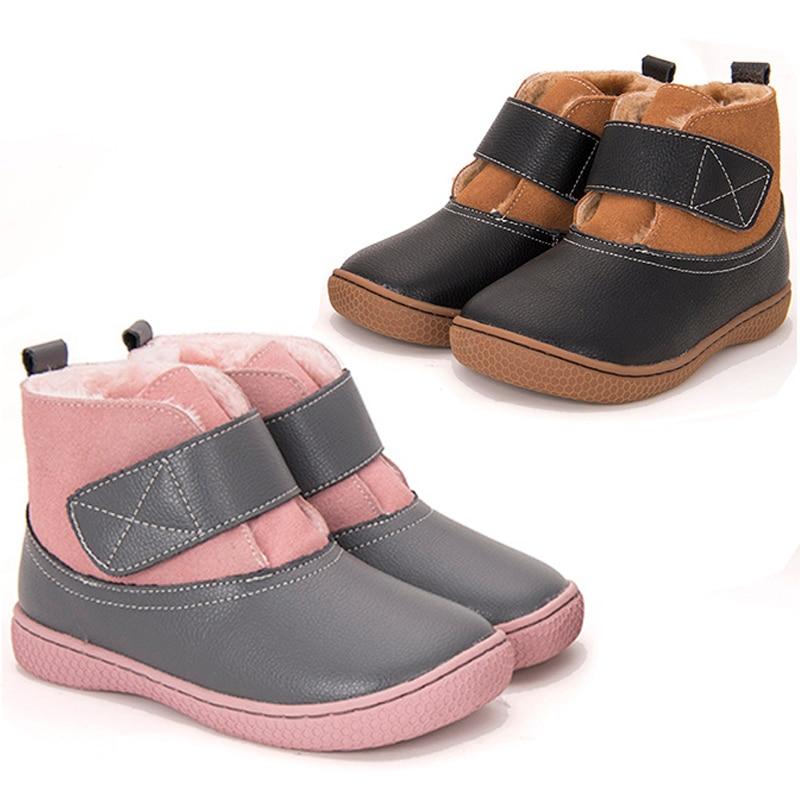 أحذية شتوية للأطفال من الجلد الطبيعي ، أحذية شتوية ناعمة من القطيفة للأطفال ، أحذية ثلجية ناعمة للأولاد