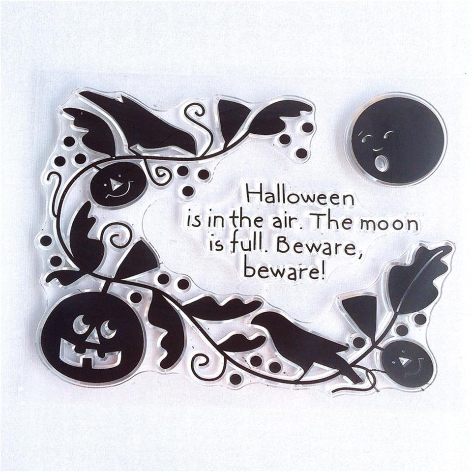 10*13 sello de silicona transparente artesanal de Halloween para tarjetas de papel de álbum de fotos DIY hoja de sello transparente decorativa