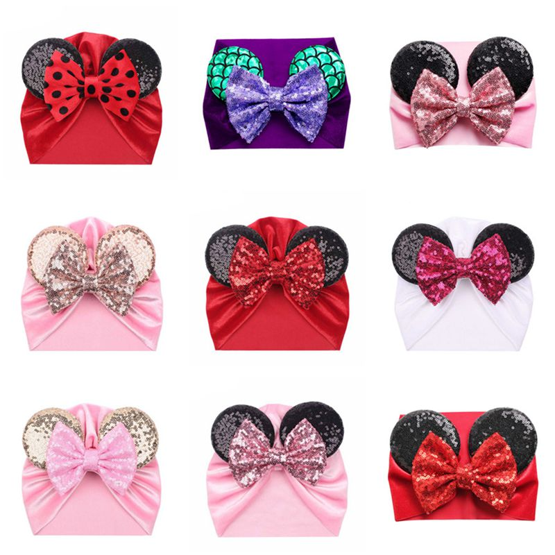 Minnie mickey orelhas do bebê headbands macio veludo recém-nascido glitter bowknot cor rosa vermelho turbante bonés natal arco do bebê chapéus