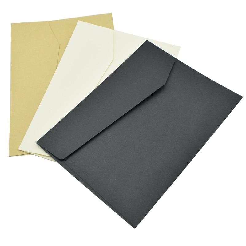 10PCS Classical White Black Kraft Blank Paper Envelope Letter Holder Window Envelopes