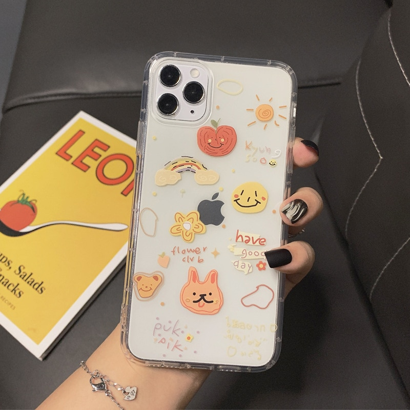 phone case Cartoon mobile phone shell for iphone11 XR  XS  7/8/SE 2020 11pro Xs 7p/8plus X/Xs ins graffiti airbag painting