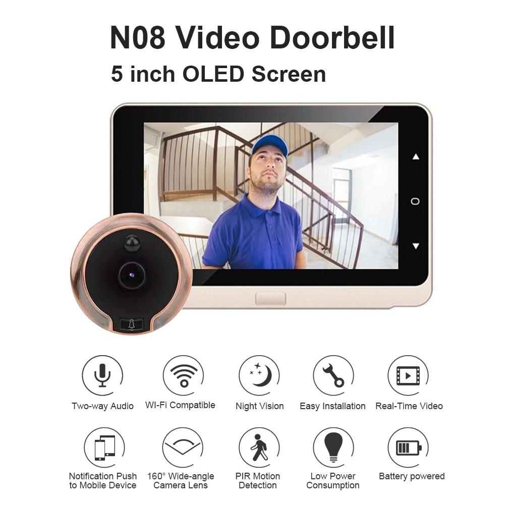 N08 5 inch Digital Door Video Eye Peephole Camera Touch Button Night Vision PIR Motion Sensor Electr