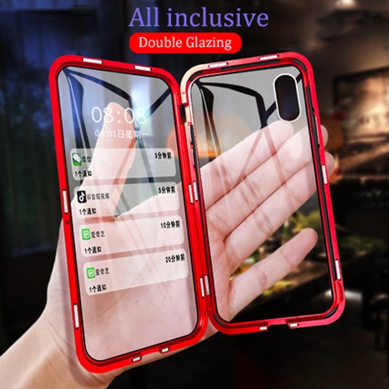Carcasa metálica magnética para teléfono iphone 7 8 6 6S Plus doble cara para iphone X XR XS 11 pro MAX funda abatible de vidrio templado
