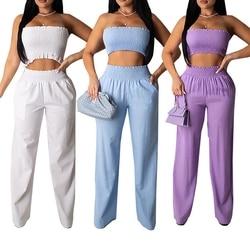 Moda feminina sexy fora do ombro colad ombro superior sem alças cor sólida colheita colete + calças compridas casual outwear conjunto