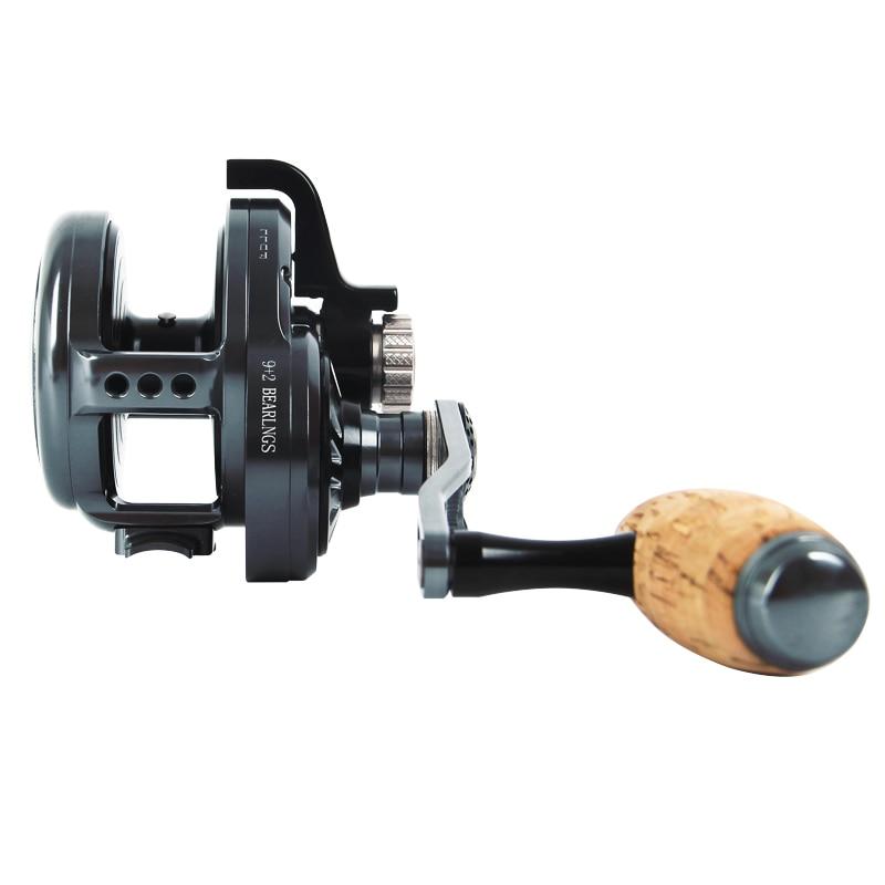 6.3:1 Gear Ratio CNC Slow Jigging Reel 30kg Max Drag Saltwater Trolling Reel Offshore Deep-Sea Fishing 9+2 BB Slow Jigging Wheel