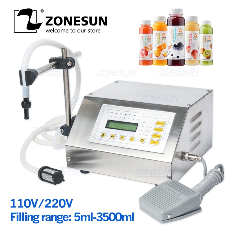 ZONESUN GFK-160 5-3500 مللي ماكينة حشو مضخة التحكم الرقمي شرب الحليب المياه النفط زجاجة عطر السائل ماكينة حشو