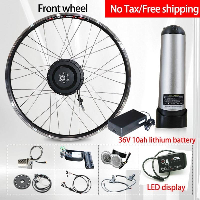 Kit de conversión de Bicicleta eléctrica 36v500w, Motor de buje delantero/trasero, cambio...