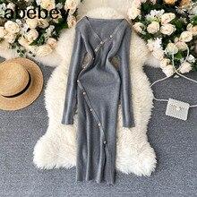 Femmes mode robe tricotée col en V à manches longues bouton robe mince automne hiver coréen Chic Sexy fendu robe pull