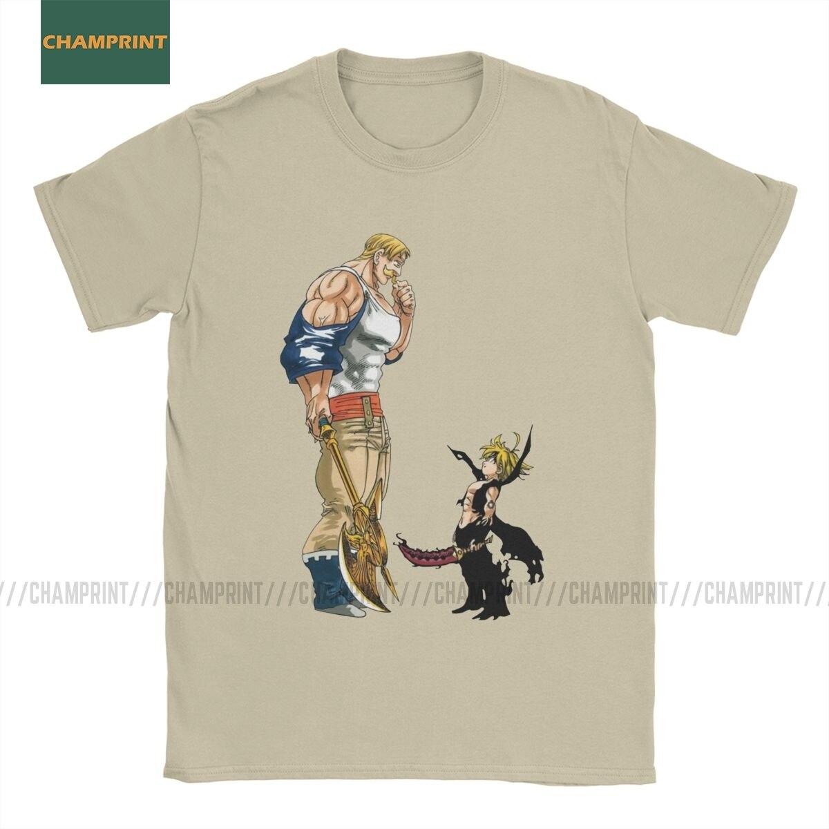 Camiseta canor Vs Meliodas The Seven Deadly Sins para hombre, Camiseta de algodón de manga corta de Anime Nanatsu No Taizai Pig Hawk, camiseta 6XL