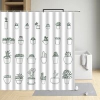 cactus lovely modern eco friendly fabric polyester waterproof cloth shower curtain bathtub decor bath screen with hooks