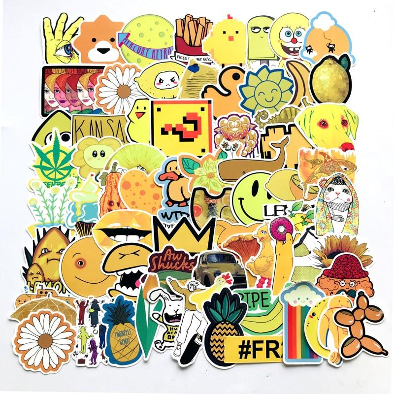 70 Uds. Patrón amarillo pegatinas lindas maleta papelería Skate dibujos animados parches motivo DIY pegatina decorativa para álbum de recortes